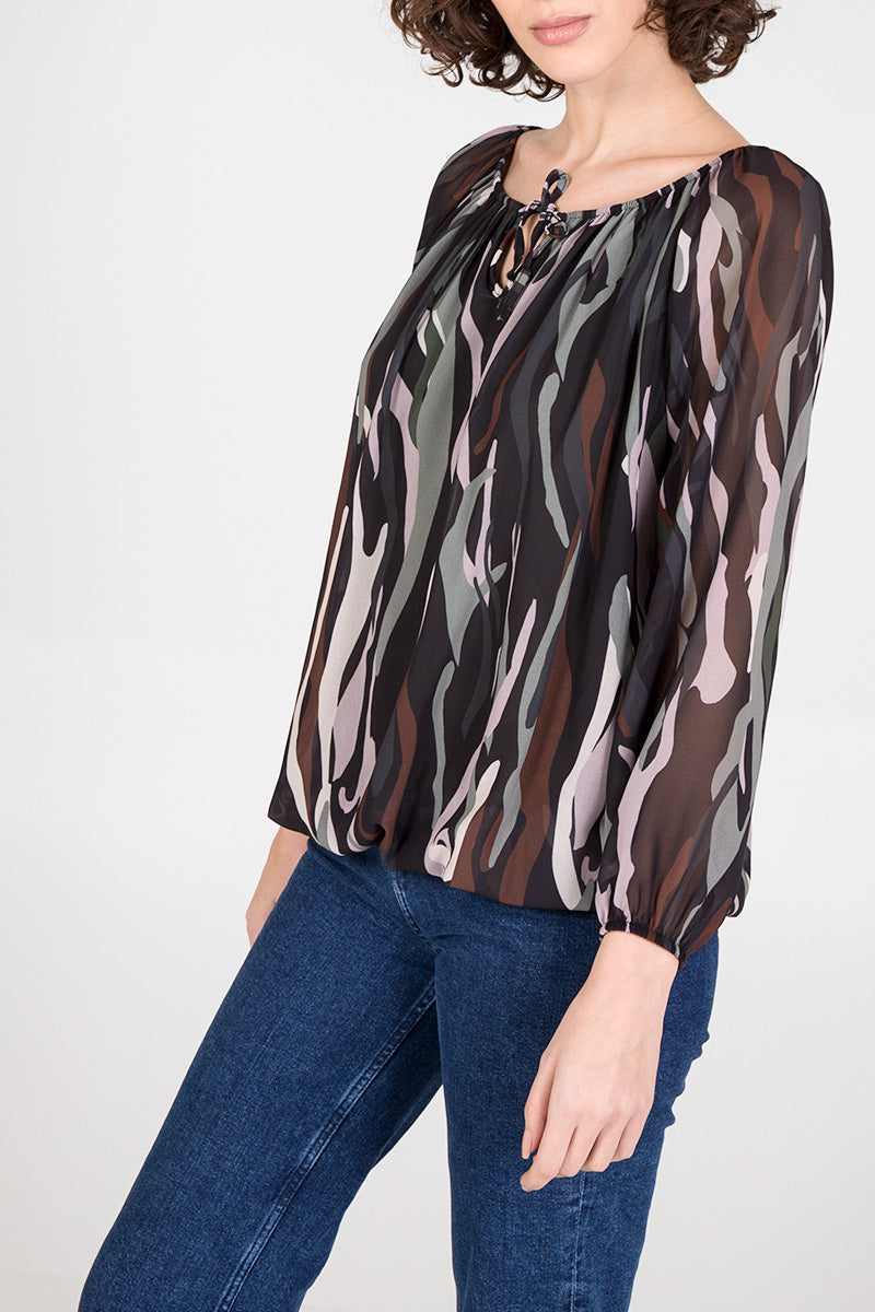 Abstract Print Tie Front Blouse