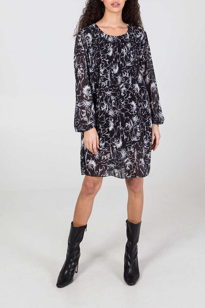 Printed Long Sleeve Plisse Dress