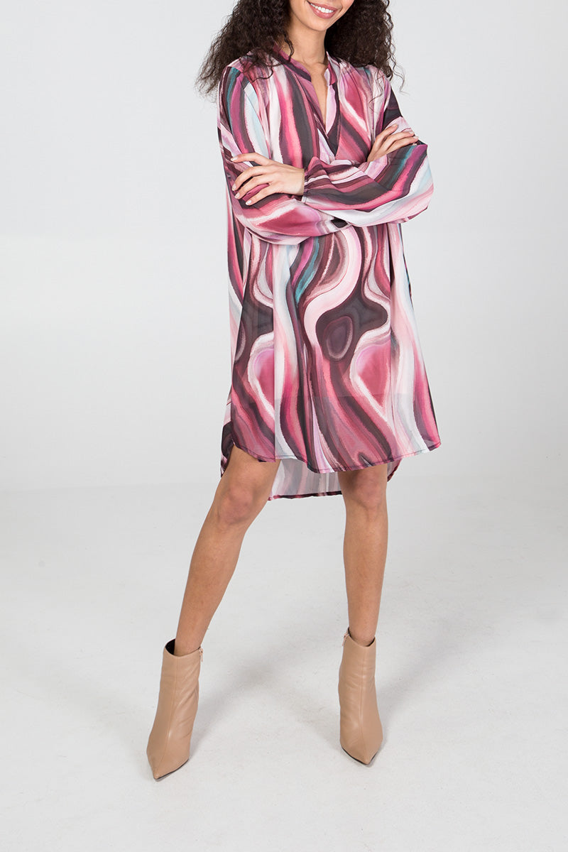 Abstract Marble Print Shirt Dress