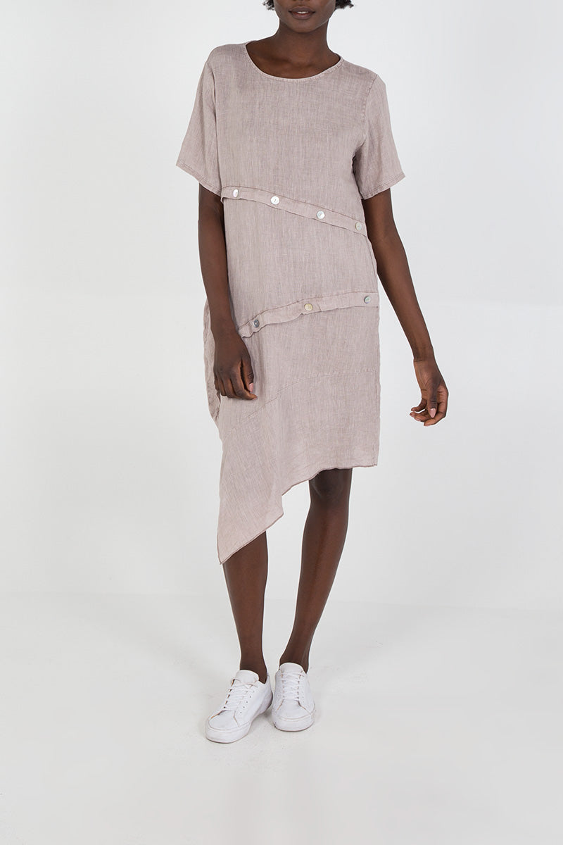 Asymmetric Hem Button Detail Linen Dress