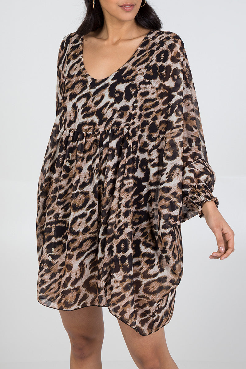 Leopard Print Batwing Sleeve Dress