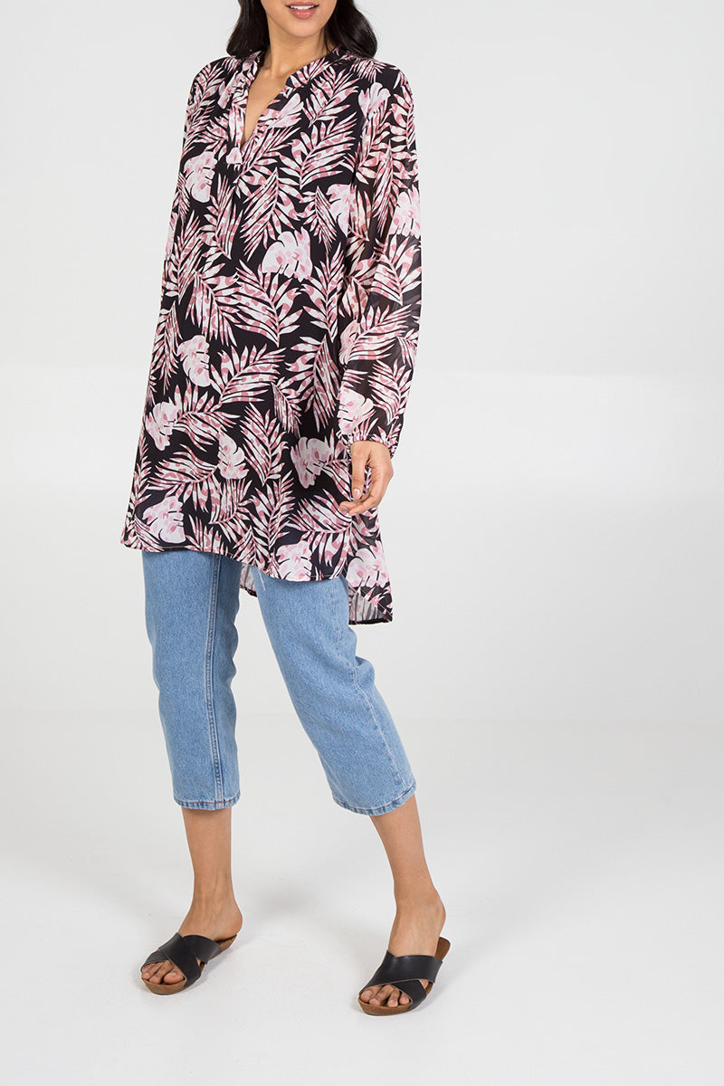 Leaf Print Long Sleeve Tunic