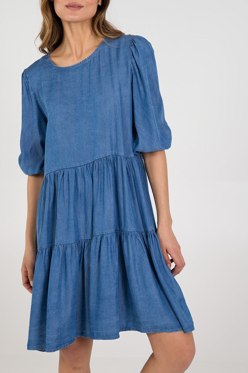 Denim Tiered Smock Dress