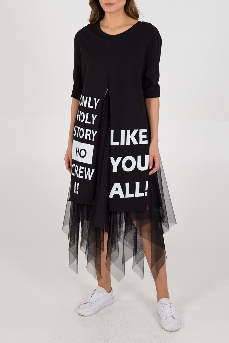 Slogan Tulle Layered Dress