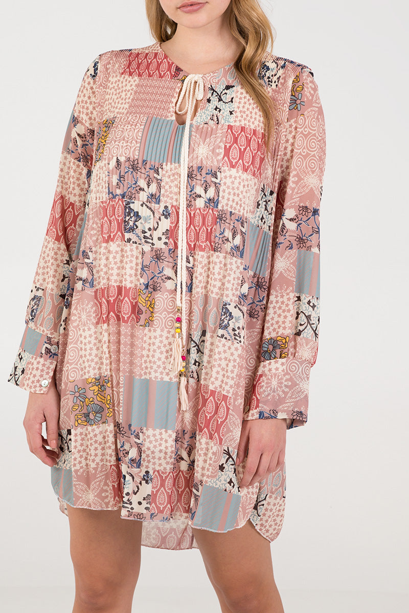 Print Pattern Long Sleeve Dress