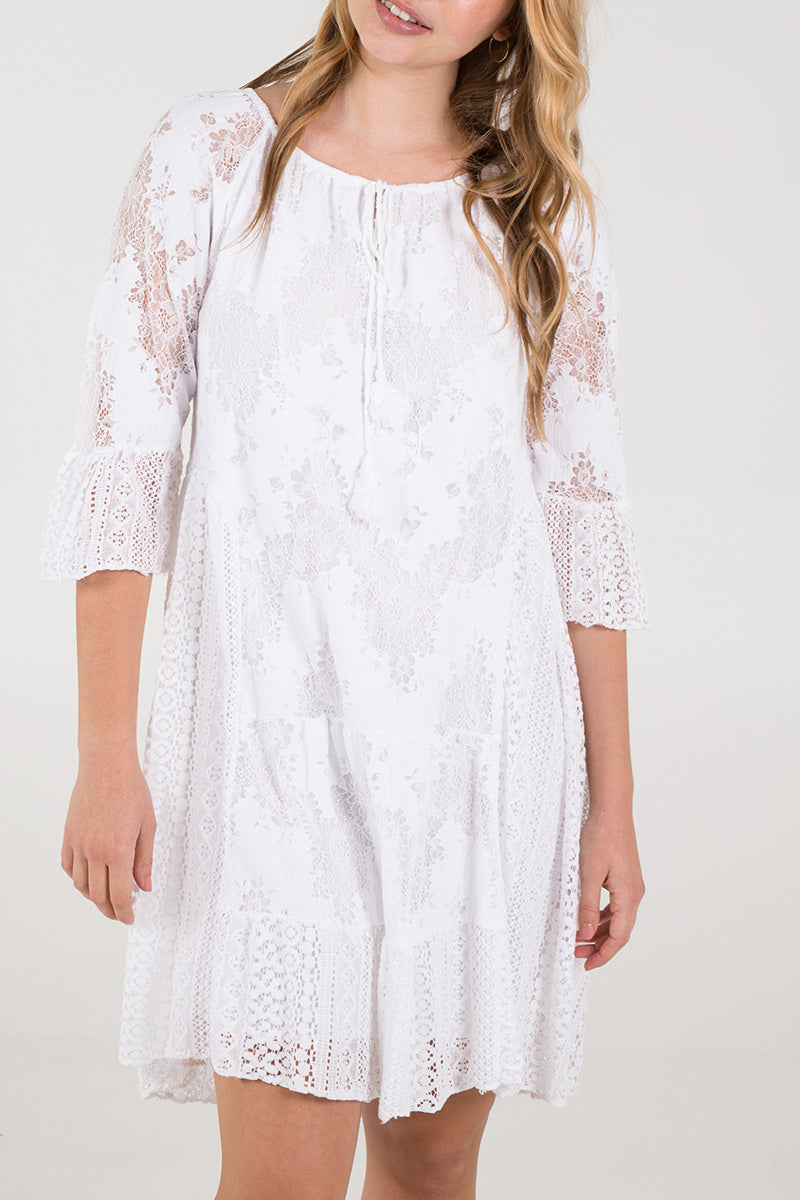 Lace Detail Frill Sleeve Dress