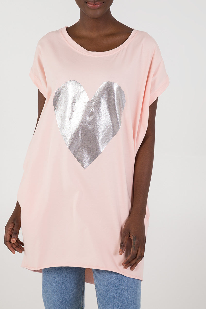 Oversized Metallic Heart Top