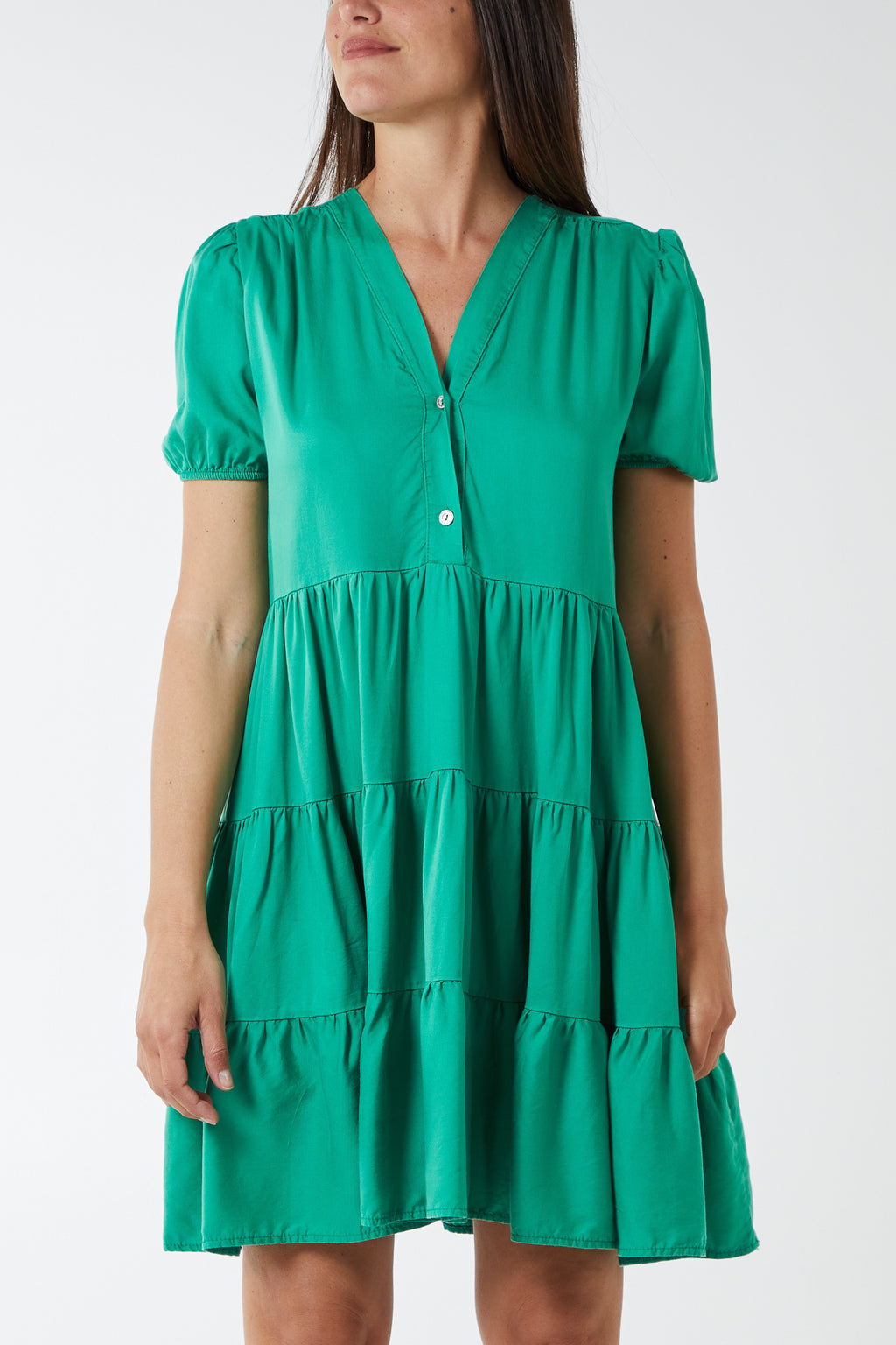 Short Sleeve Tiered Smock Dress