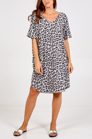Leopard V-Neck  Oversized Top