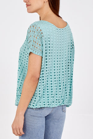 Laser Cut Viscose Lace Top