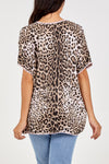 V Neck Leopard Print Silk Top