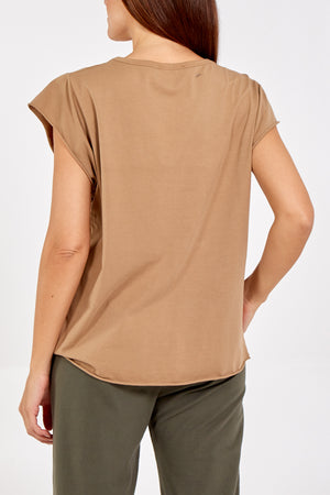 Cap Sleeve High Low Rolled Edge Top