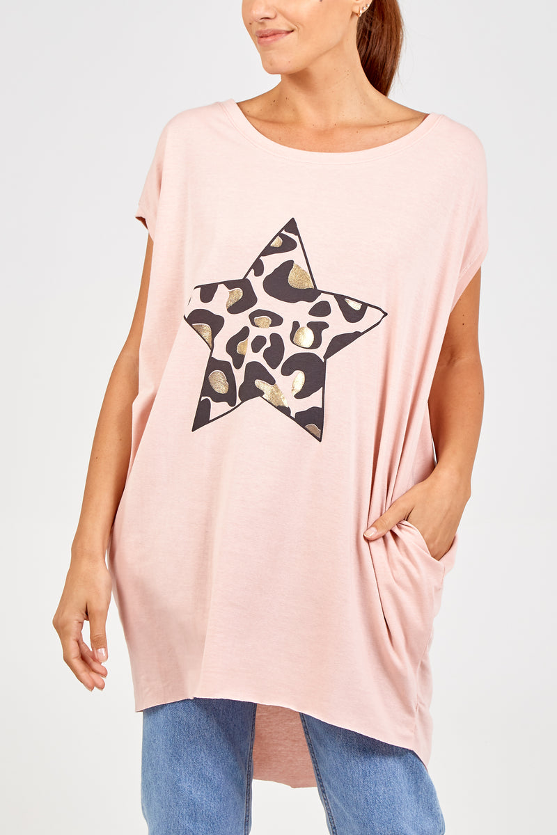 Leopard Star Two Pocket Top