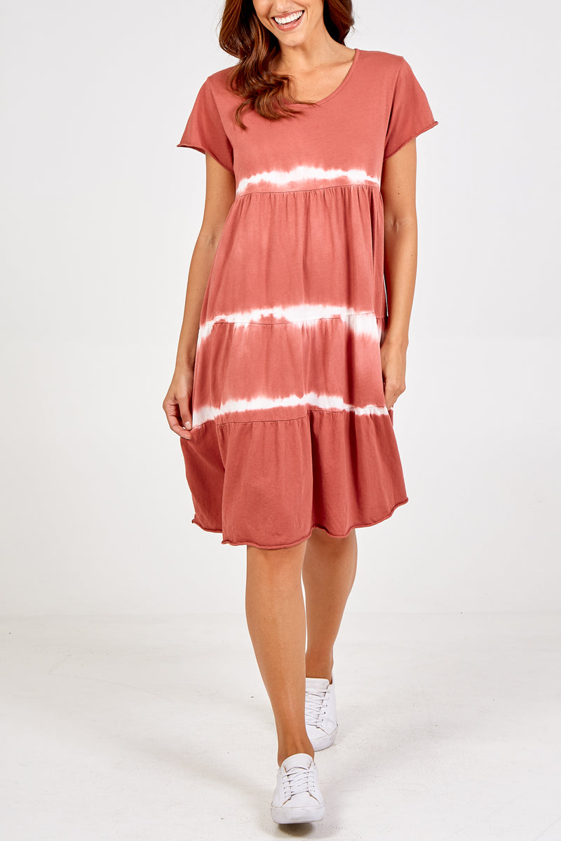 Short Sleeve Jersey Tie Dye Tiered Dress