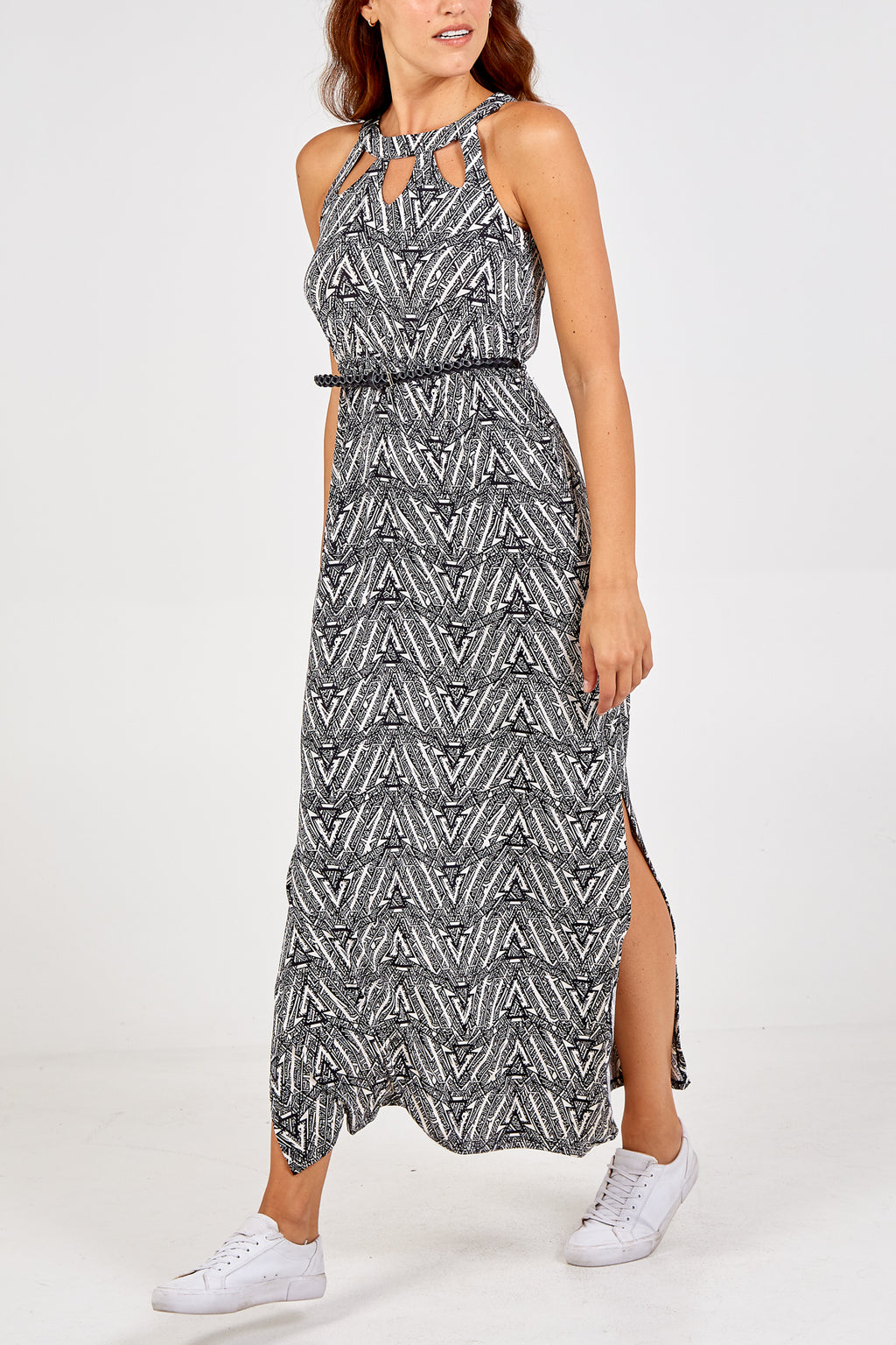Abstract Print Belted Maxi Dress