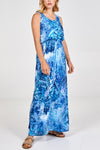 Tie Dye Sleeveless Jersey Maxi Dress