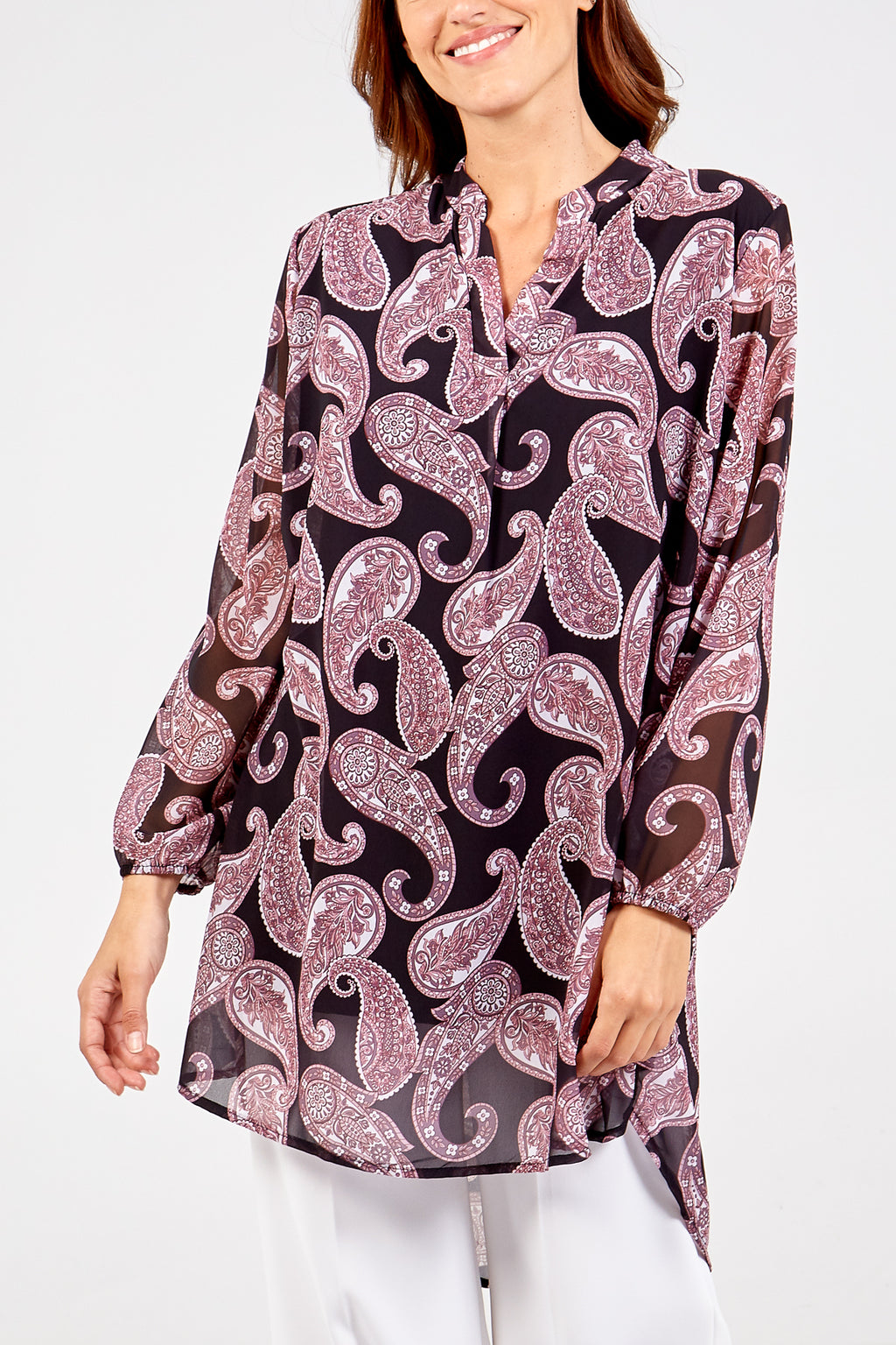 Paisley Print Long Sleeve Top
