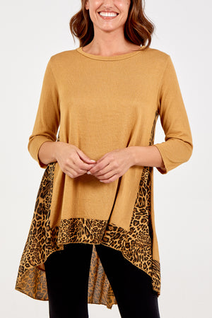 Leopard Chiffon Insert High Low Top