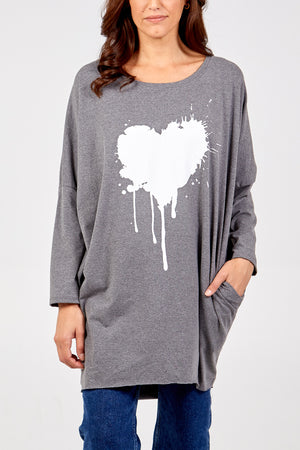 Heart Splatter Long Sleeve High Low Top