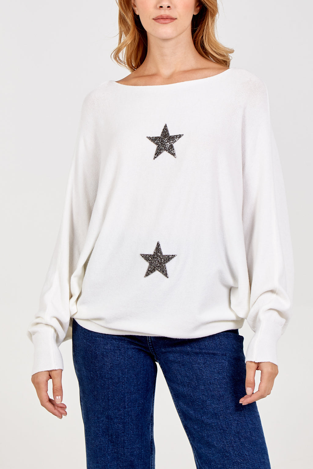 Fine Knit Sparkle Star Batwing Jumper