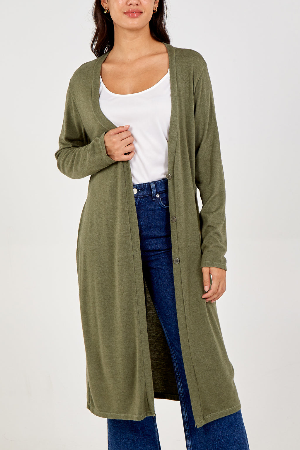Button Front Long Cardigan