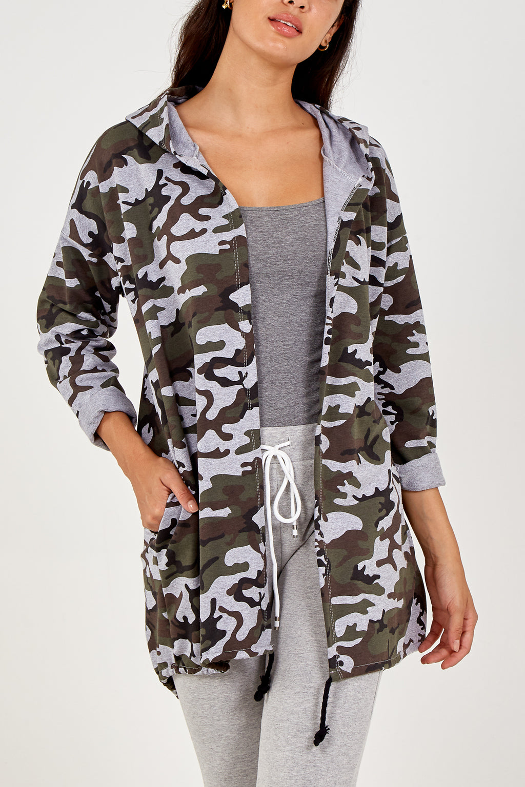 Camouflage Hooded Cardigan