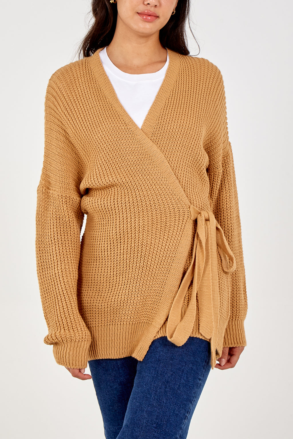 Wrap Tie Front Knitted Cardigan