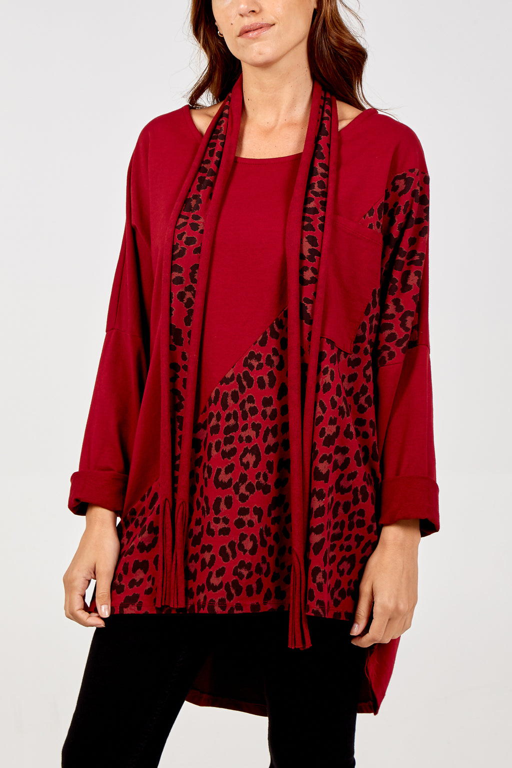 Oversized Leopard Print Scarf Top