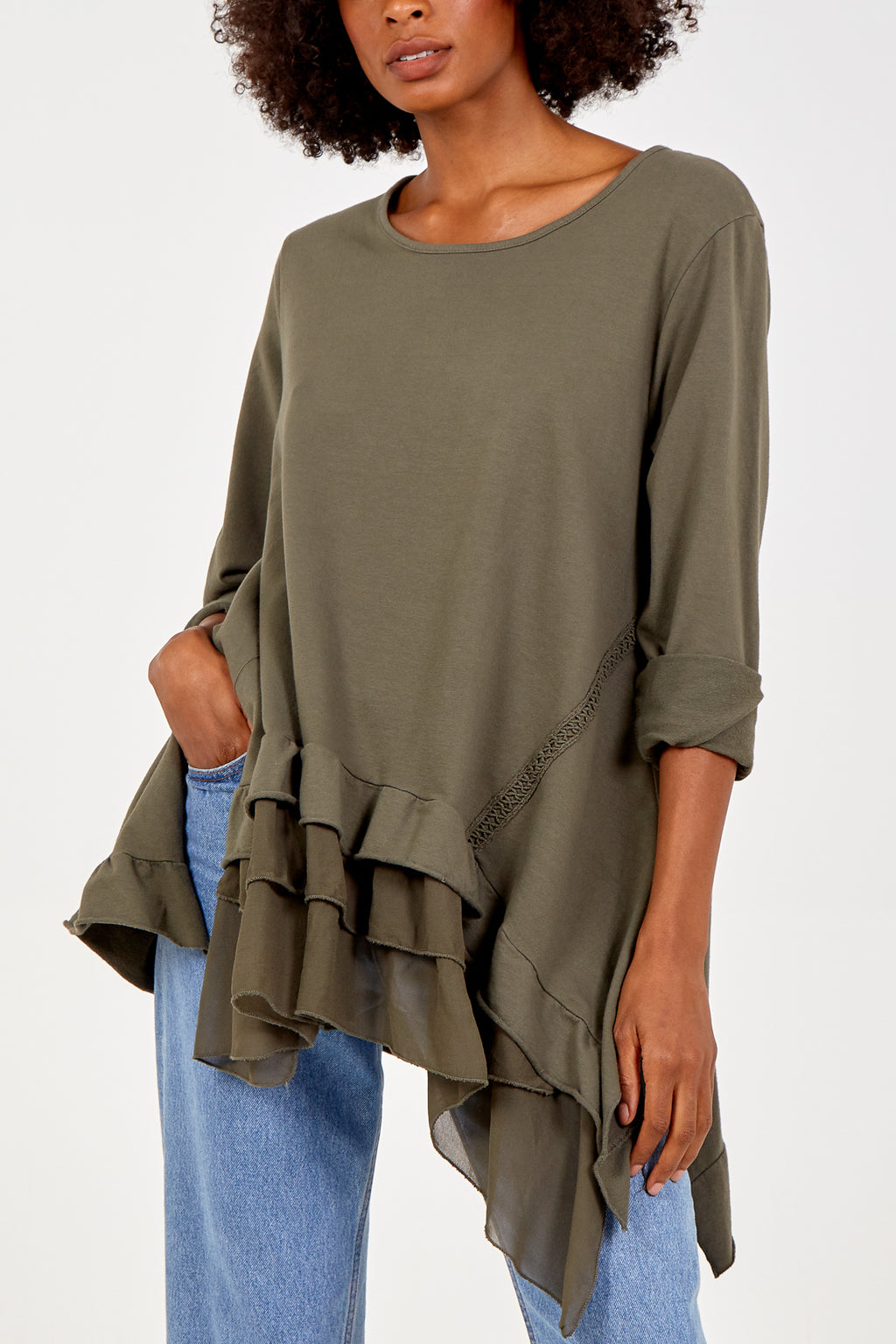 Long Sleeve Frill Hem Top