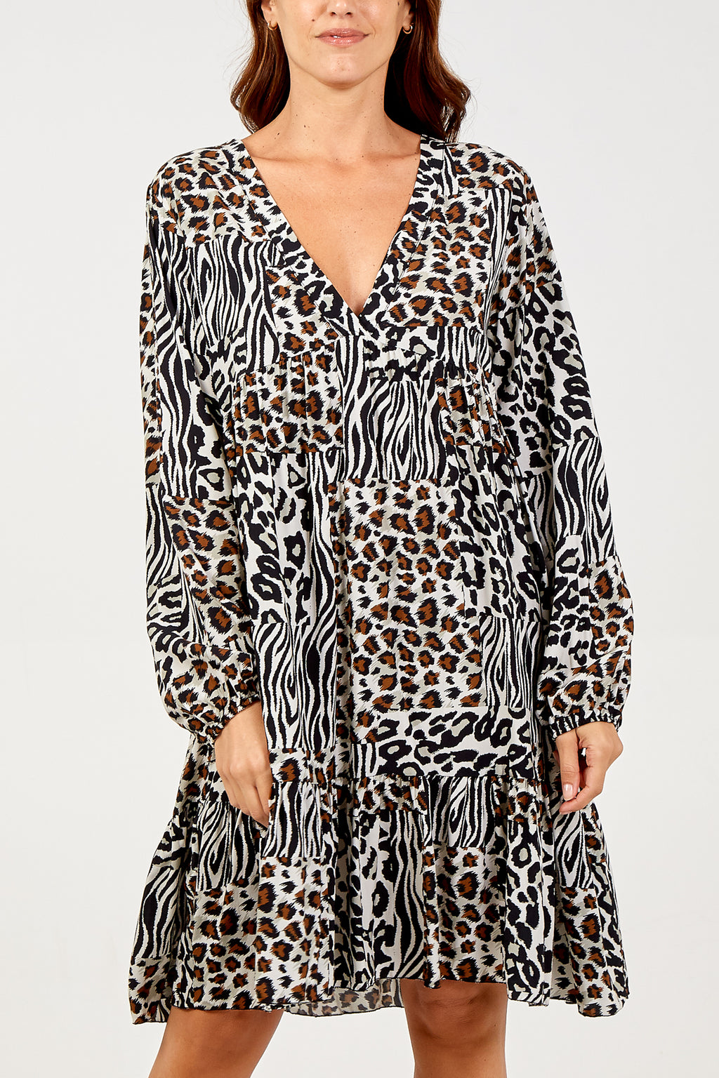 Leopard and Tiger Tiered Long Sleeve Dress