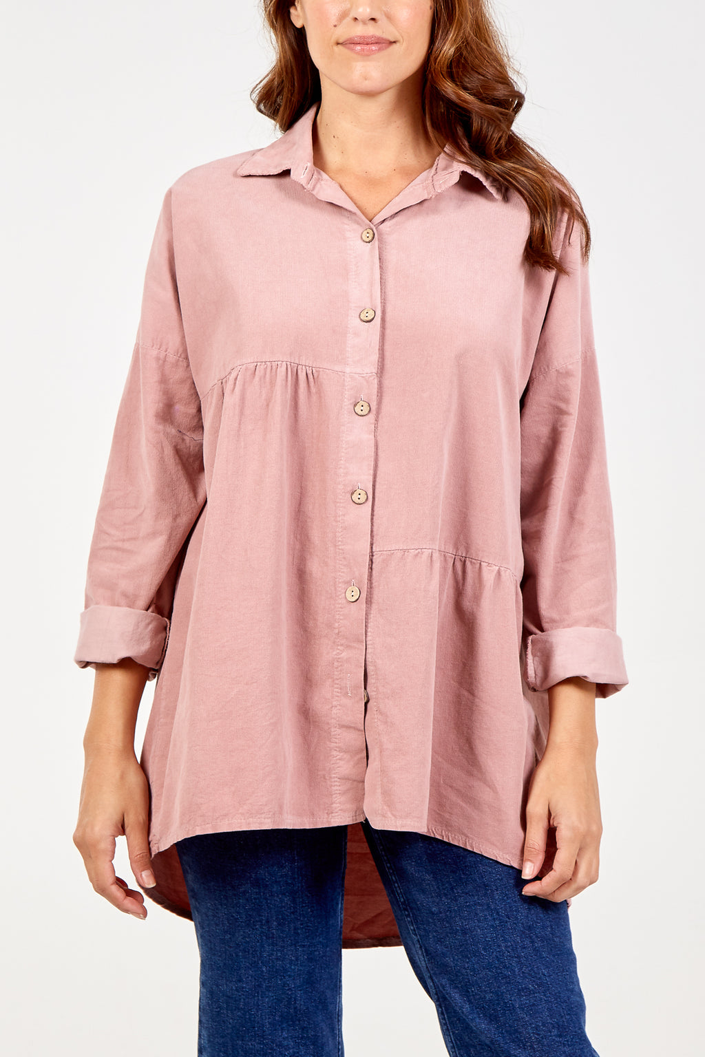 Baby Corduroy Collared Buttoned Long Sleeve Shirt