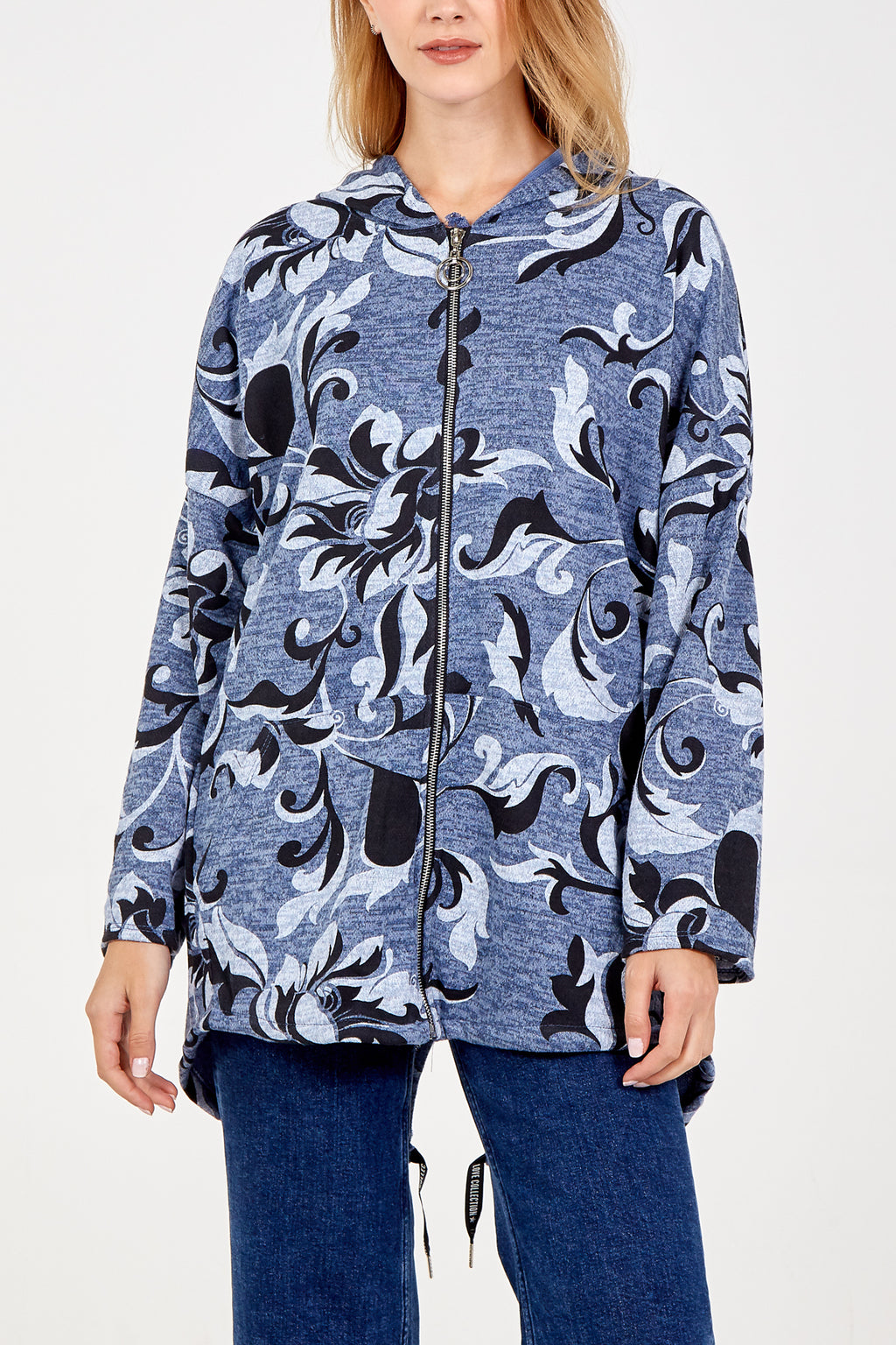 Zip Floral Pattern Coat With Hood