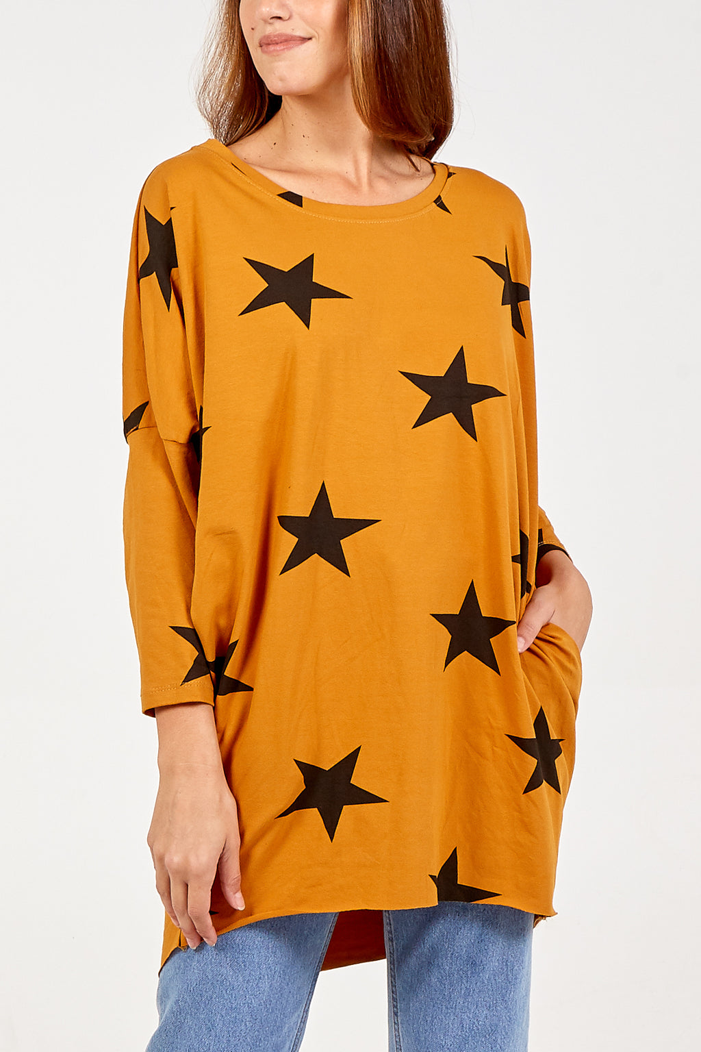 Two Pocket Long Sleeve Oversized Star Top