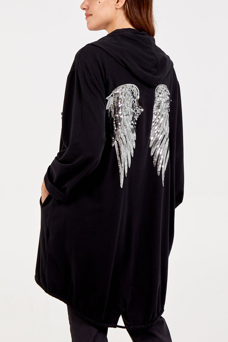 Sequin Angel Wing Zip Hooded Cardigan