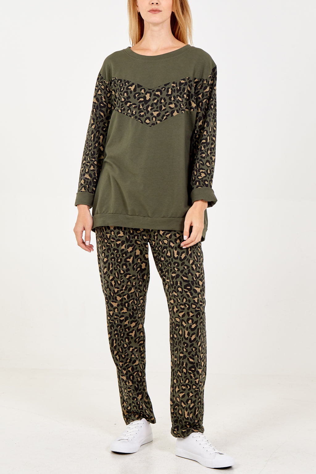 Leopard Panel & Sleeve Lounge Set