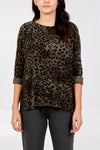 Slash Neck Leopard Print Jumper