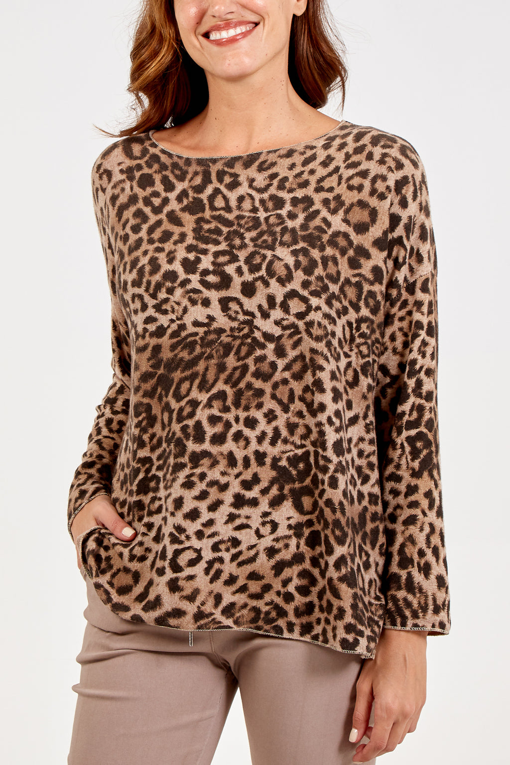 Slash Neck Leopard Print Top