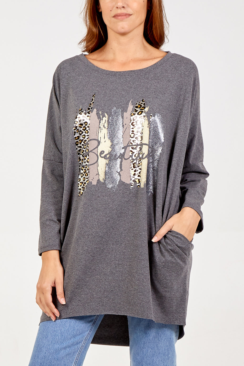 Long Sleeve Two Pocket 'Beautiful' Leopard Print Top