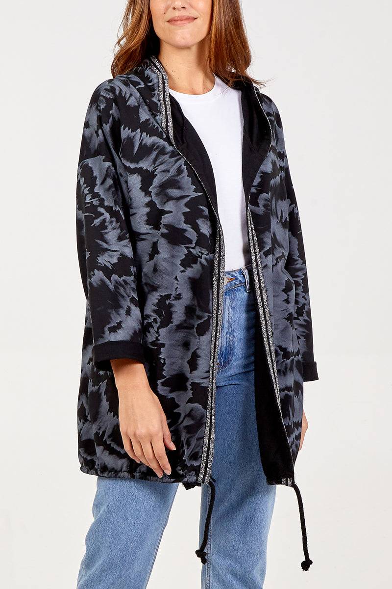 Tie Dye Zip Hooded Cardigan