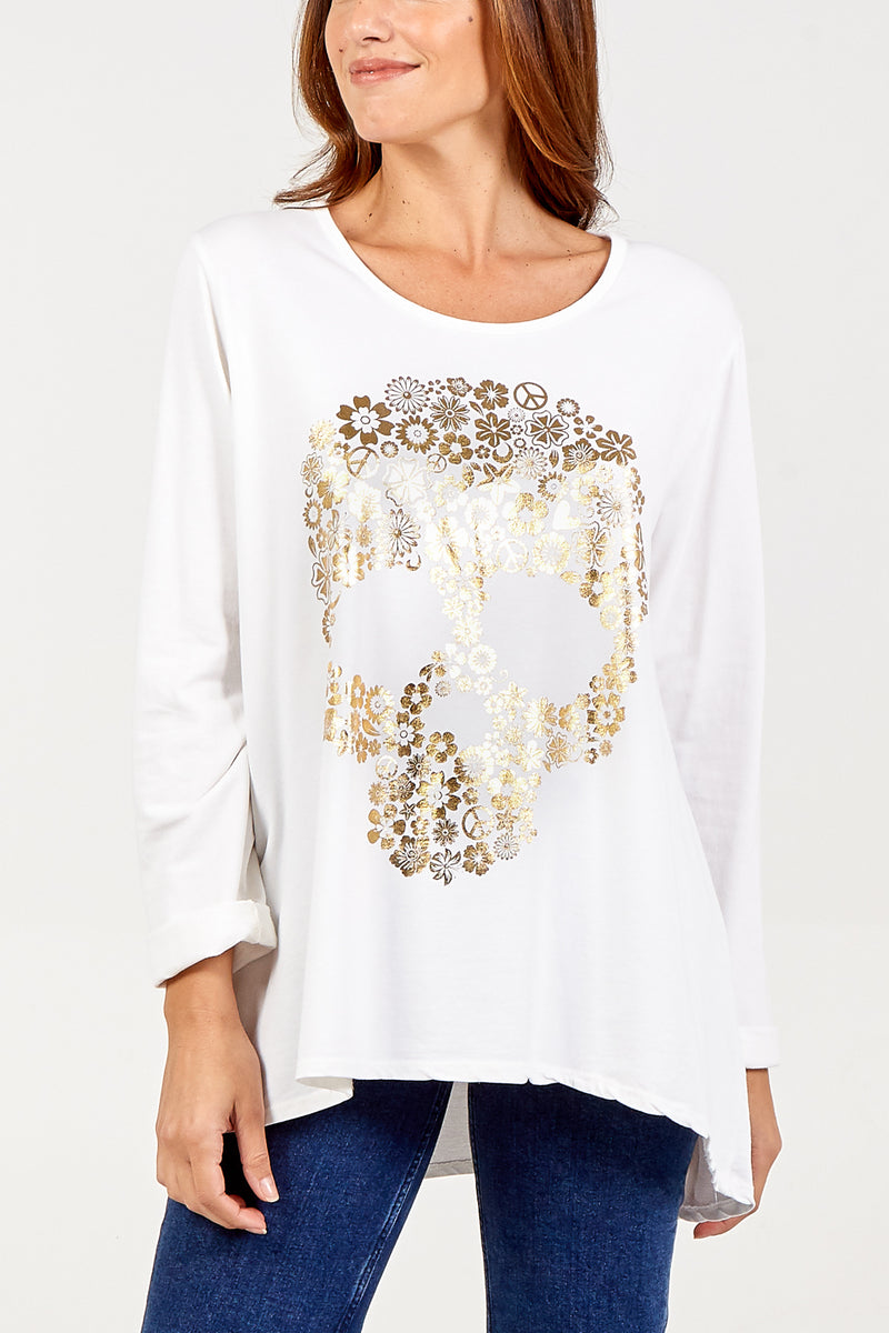 Foil Skull Print Long Sleeve Sweatshirt