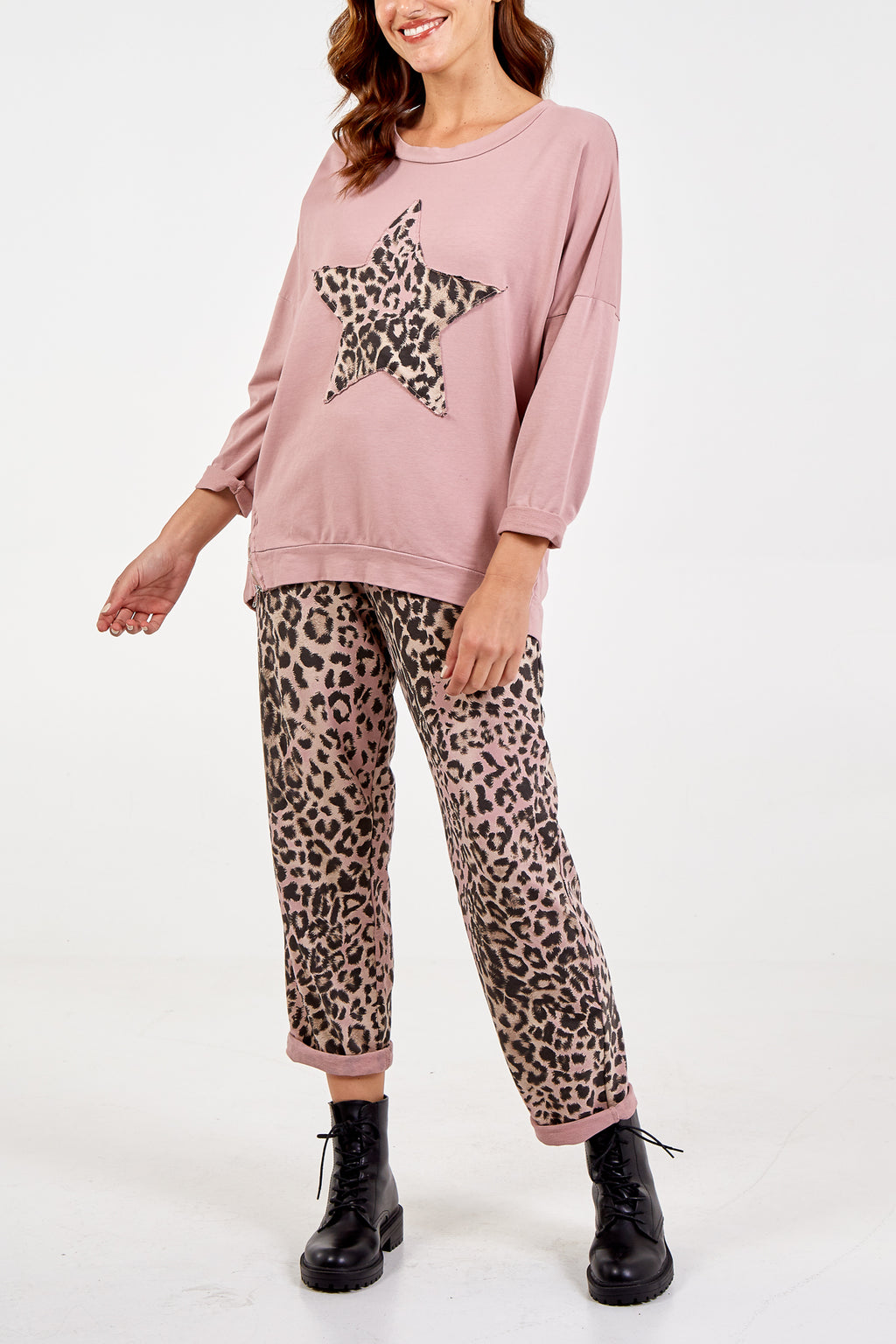Leopard Star Long Sleeve Lounge Set