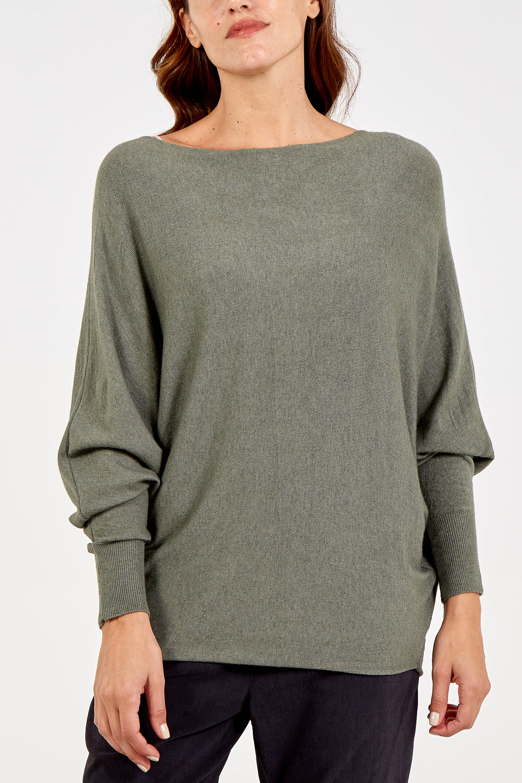 Slash Neck Batwing Jumper