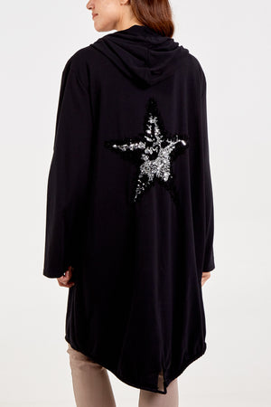 Sequin Star Back Hooded Zip Through Long Jacket