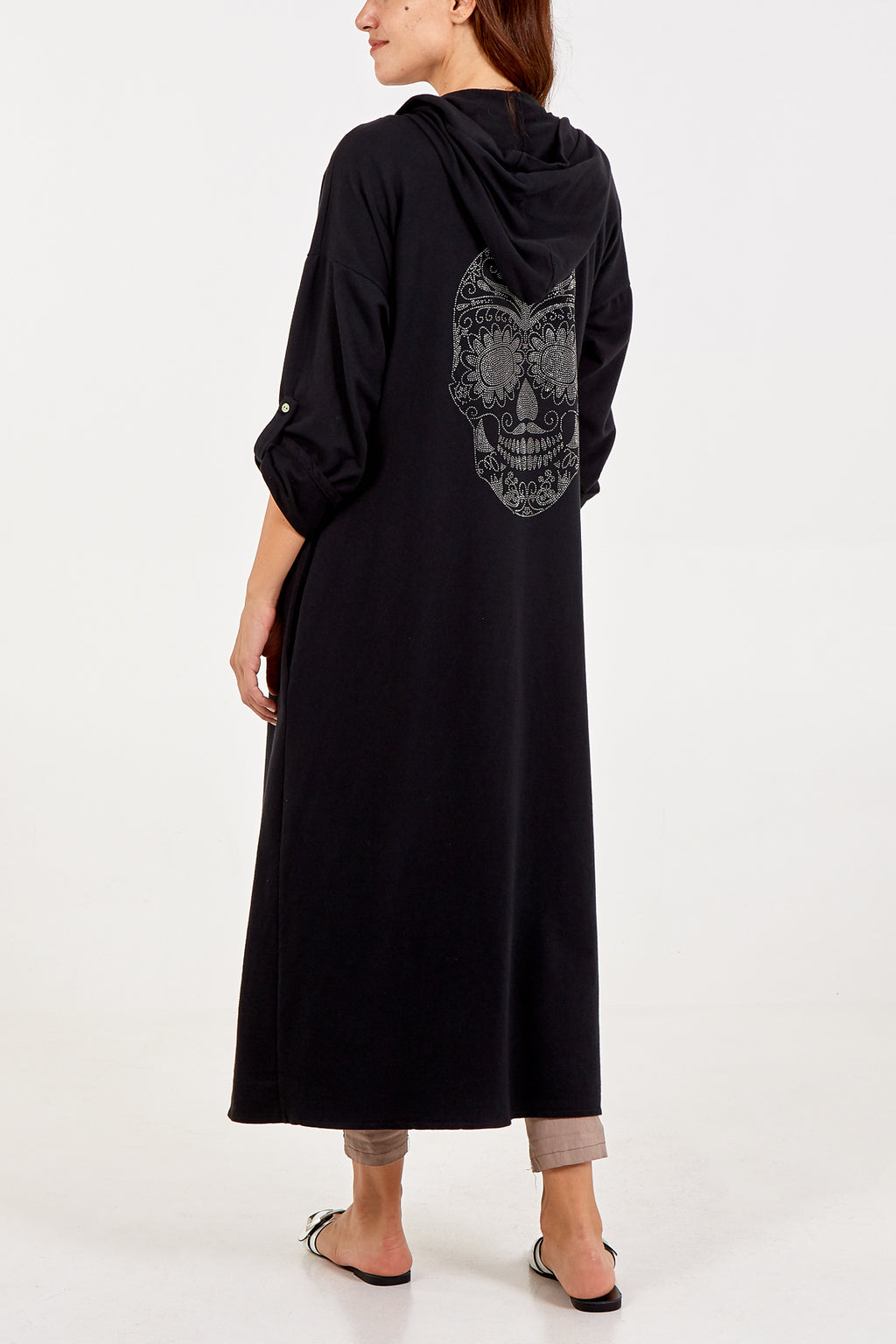Long Hooded Cardigan With Crystal Skull
