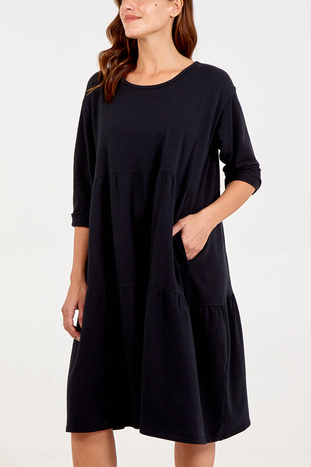 Tiered Long Sleeve Two Pocket Dress