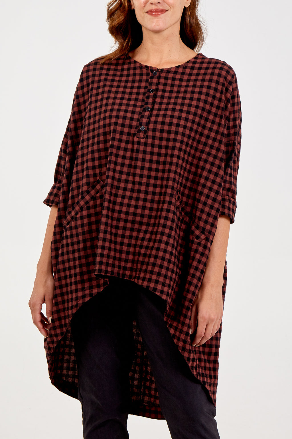 High Low Checkered Top With Front Pockets