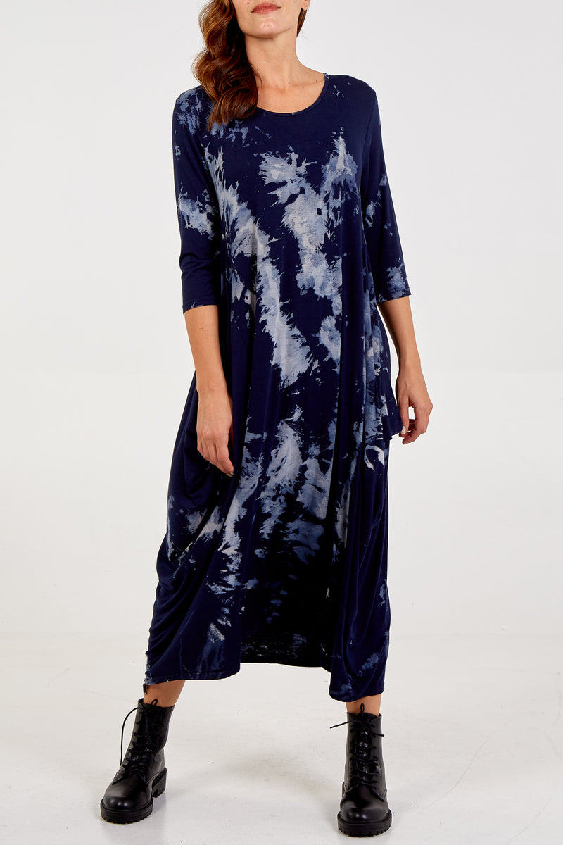 Long Sleeve Tie Dye Parachute Dress