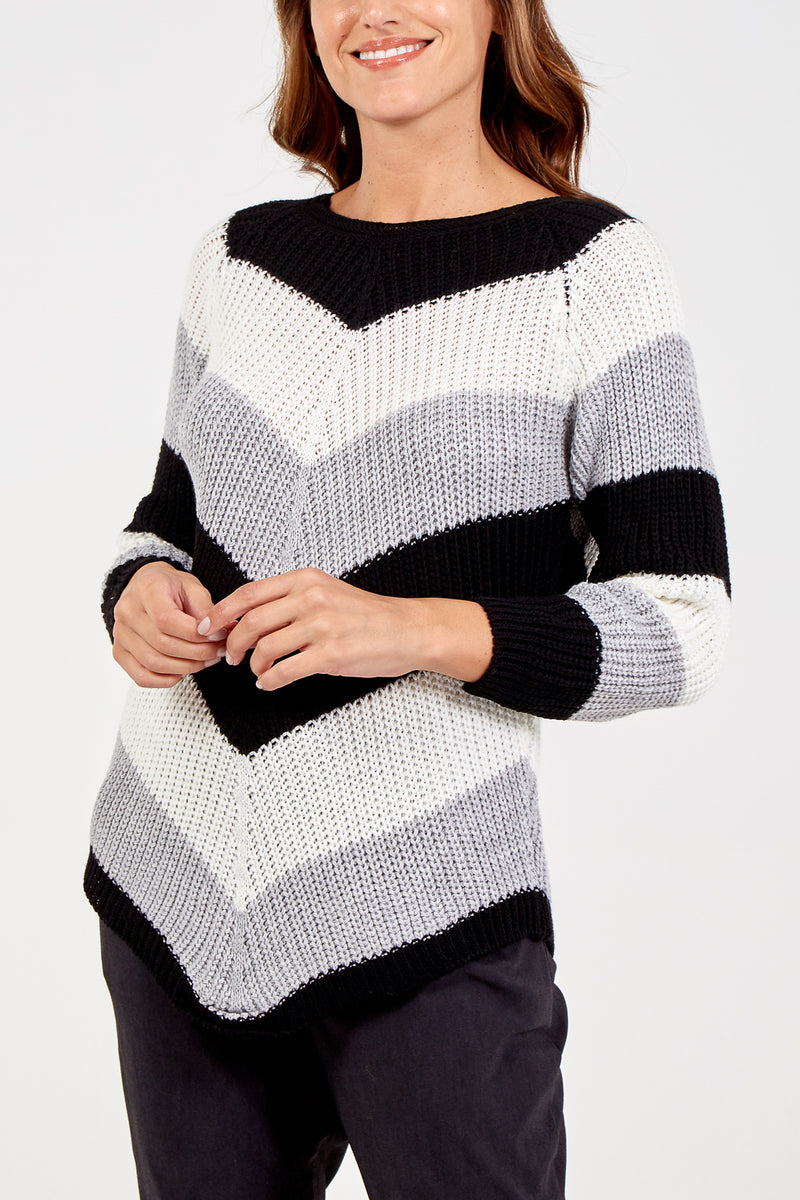 Chevron Pattern Knit Jumper
