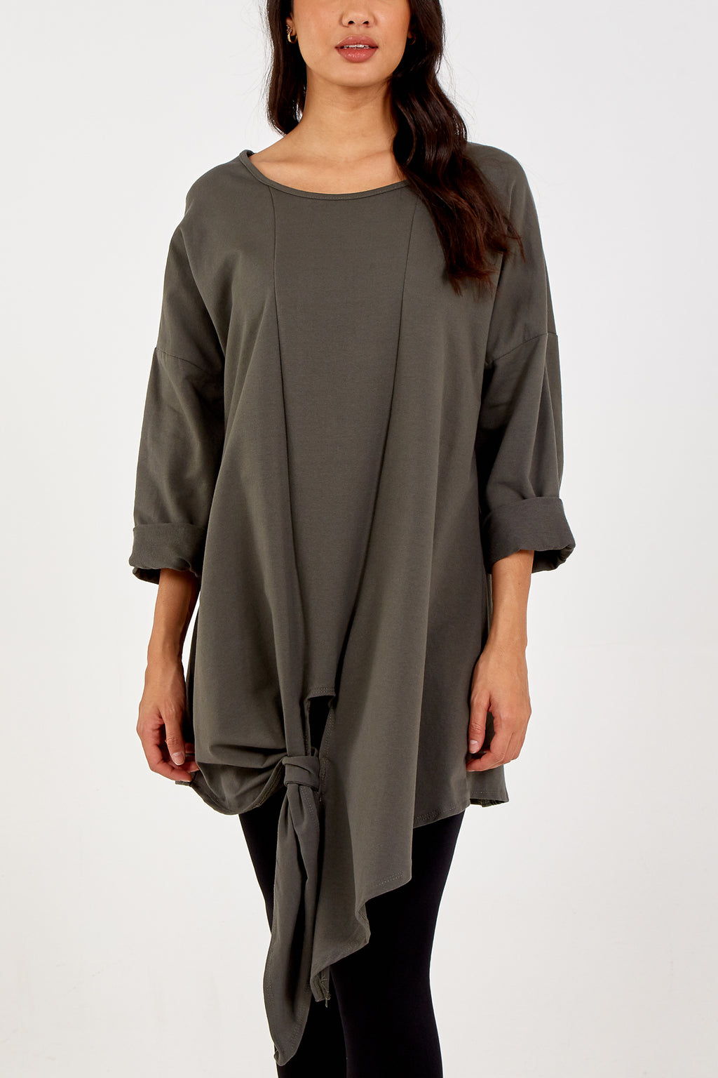 Asymmetric Front Tie Long Sleeve Top