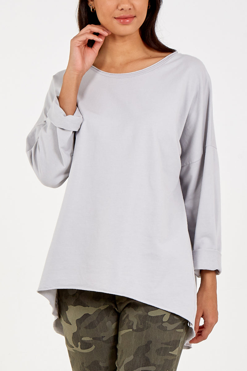 Round Neck High Low Long Sleeve Top